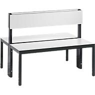 Sitzbank Basic Plus, 2-seitig, Rückenlehne, ohne Schuhrost, 4-Fußgestell schwarzgrau RAL 7021, B 1000 mm, Dekor weiß