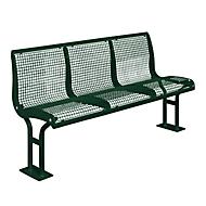 Sitzbank Essen, mit Rückenlehne, 3 Sitzplätze, mit Flansch, in RAL Farben, tannengrün