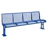 Sitzbank Essen, mit Rückenlehne, 4 Sitzplätze, mit Flansch, pulverbeschichtet, violettblau
