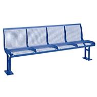 Sitzbank Essen, Rückenlehne, 4 Sitzplätze, zum Einbetonieren, pulverbeschichtet, violettblau