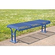 Sitzbank Essen, Stahl, Hockerbank ohne Rückenlehne, 3 Sitzplätze, mit Flansch, violettblau