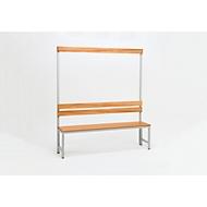 Sitzbank für Umkleideräume mit Rückwand und Hakenleiste L 1000 mm