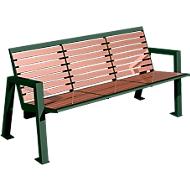 Sitzbank Karlsruhe, 3 Sitzplätze,  aus Stahl und Holz, moosgrün