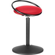 Sitzhocker ROVO SOLO mit Ring, 3D-Gestrick, schwarz/rot