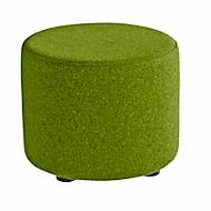 Sitzhocker TAPA Round, Sperrholz, gepolstert, Schurwolle-Bezug, grün