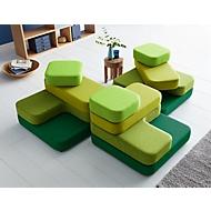 Sitzsystem TAPA Square, Stoff, modular, mit Drehmechanismus, B 900 x T 900 x H 620 mm, grün/grün