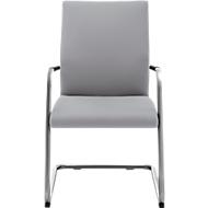 Sledestoel ACTOS, rugleuning 530 mm, blank aluminium, stof, grijs