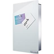 Sleutelkast VELIO, met glazen magneetbord, rvs/glas, wit, B 200 x D 50 x H 300 mm