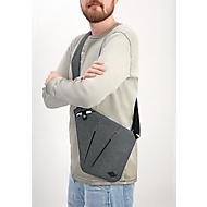 Sling Bag COLLEGE, Polyester, verstellb. & gepolsterter Schultergurt, B310xT230xH20 mm, graumeliert