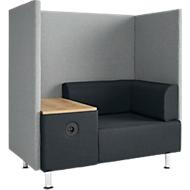 Soft-Seating-System BE SOFT, 1 Sitz, mit Tisch, m. Akustik-Panel, inkl. Steckersystem, schwarz-grau