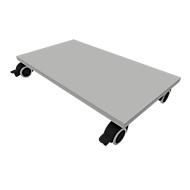 Sokkelplaat met wielen QUANDOS BOX, B 800 x D 440 x H 125, aluminium zilver