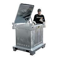 Sonderabfall-Behälter BAUER SAS 800, Stahlblech, feuerverzinkt, abschließbar, B 1200 x T 1000 x H 1235 mm