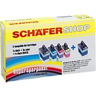 Sparset 5 Schäfer Shop Tintenpatronen, baugleich LC-900, 2 x schwarz, je 1 x cyan, magenta, gelb