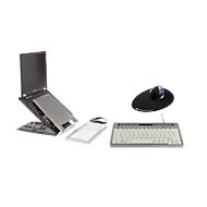 Sparset BakkerElkhuizen Home Working Kit, ergonomisch, bestehend aus Laptophalter Ergo-Q 330, Tastatur S-board 840 Design USB, Vertikalmaus Grip Mouse Wireless & Mauspad The Egg