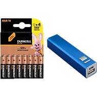 Sparset Batterien DURACELL® Plus Power, 16 Stück + gratis Powerbank mit 2200 mAh Akku, Micro AAA