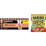 Sparset DURACELL® Batterie Plus Power, Micro AAA, 24 St. + Gratis Haribo