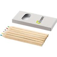 Sparset Mini-Farbstifte, natur, 750 x 6er-Kartonschachtel, inkl. einfarbige Werbeanbringung