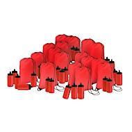 Sparset Rucksack und Trinkflasche, 100 Teile, inkl. einfarbigem Druck und Grundkosten, rot