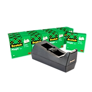 Sparset Tischabroller Scotch® + 12 Rollen Klebeband Scotch® Magic™ Tape, für Rollen bis B 19 mm