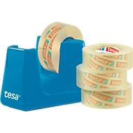 Sparset Tischabroller tesa Easy Cut® COMPACT + 4 Rollen tesafilm®, Abroller in blau