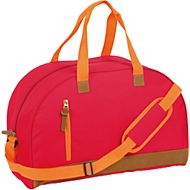 Sporttasche FUN, Kunststoff, Reißverschlussfächer, gepolstert, Werbedruck 120 x 180 mm, rot