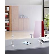 Spuckschutz, Kunststoff, klar-transparent, Stärke 4 mm, B 800 x H 1000 mm, mit Durchreiche & Edelstahl-Füßen