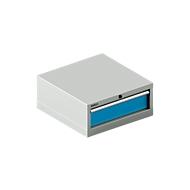 SSI SCHÄFER ladekast 27-27, 1 lade, tot 75 kg, B 564 x D 572 x H 250 mm, lichtblauw/lichtgrijs
