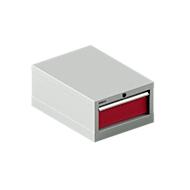 SSI SCHÄFER Schubladenschrank 18-27, 1 Schub, bis 75 kg, B 411 x T 572 x H 250 mm, rubinrot/lichtgrau