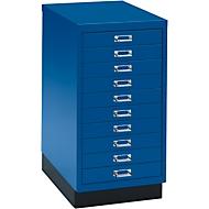 SSI Schubladenschrank DIN A3, 10 Schübe, 675 mm hoch, enzianblau
