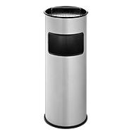 Staande asbak/afvalverzamelaar, zilver, 30 liter