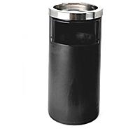 Staande asbak met binnenemmer, 20 l, rond, H 580 x Ø 270 mm, rvs & PP, zwart