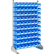 Staande bakkenrekken eenzijdig, b 1130 x d 500 x h 1885 mm, 70 x 3 l, blauw