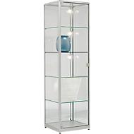 Staande vitrinekast, stabiel aluminium frame, 500 x 500 x 1800 mm