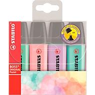 Stabilo® Boss Original Pastel markeerstift, lijndikte 2 mm/5 mm, pastelkleuren, etui met 4 stuks