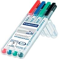 STAEDTLER whiteboardmarker Lumocolor®, diverse kleuren, ronde punt: 1 mm, set van 4