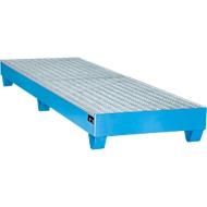 Stahl-Auffangwanne mit Gitterrost, 2400 x 800 mm, blau RAL 5012