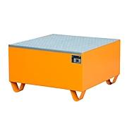 Stahl-Auffangwanne mit Gitterrost, 800 x 800 mm, orange RAL 2000