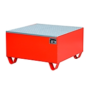Stahl-Auffangwanne mit Gitterrost, 800 x 800 mm, rot RAL 3000