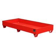 Stahl-Auffangwanne ohne Gitterrost, 1800 x 800 mm, rot RAL 3000