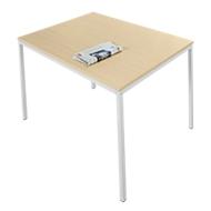 Stahlrohr-Tisch, 1200 x 700 mm, Ahorn-Dekor/aluweiß