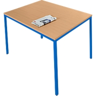 Stahlrohr-Tisch, 1400 x 700 mm, Buche-Dekor/blau