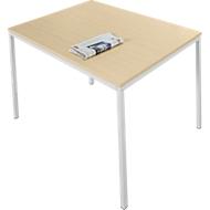 Stahlrohr-Tisch, 1400 x 800 mm, Ahorn-Dekor/aluweiß
