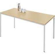 Stahlrohr-Tisch, 1600 x 800 mm, Ahorn-Dekor/aluweiß