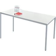 Stahlrohr-Tisch, 1600 x 800 mm, lichtgrau/aluweiß