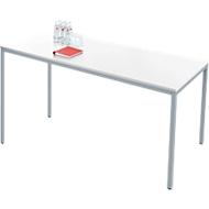 Stahlrohr-Tisch, 1600 x 800 mm, weiß/aluweiß