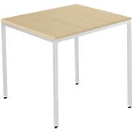 Stahlrohr-Tisch, 800 x 800 mm, Ahorn-Dekor/aluweiß