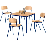 Stahlrohr-Tisch mit 4 Stapelstühlen, Gestell blau