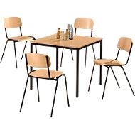 Stahlrohr-Tisch mit 4 Stapelstühlen, Gestell schwarz