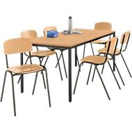 Stahlrohr-Tisch mit 6 Stapelstühlen, Gestell Tisch schwarz/Stuhl braun