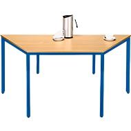 Stahlrohr-Tisch, Trapez, 1600/800 x 690 mm, Buche-Dekor/enzianblau